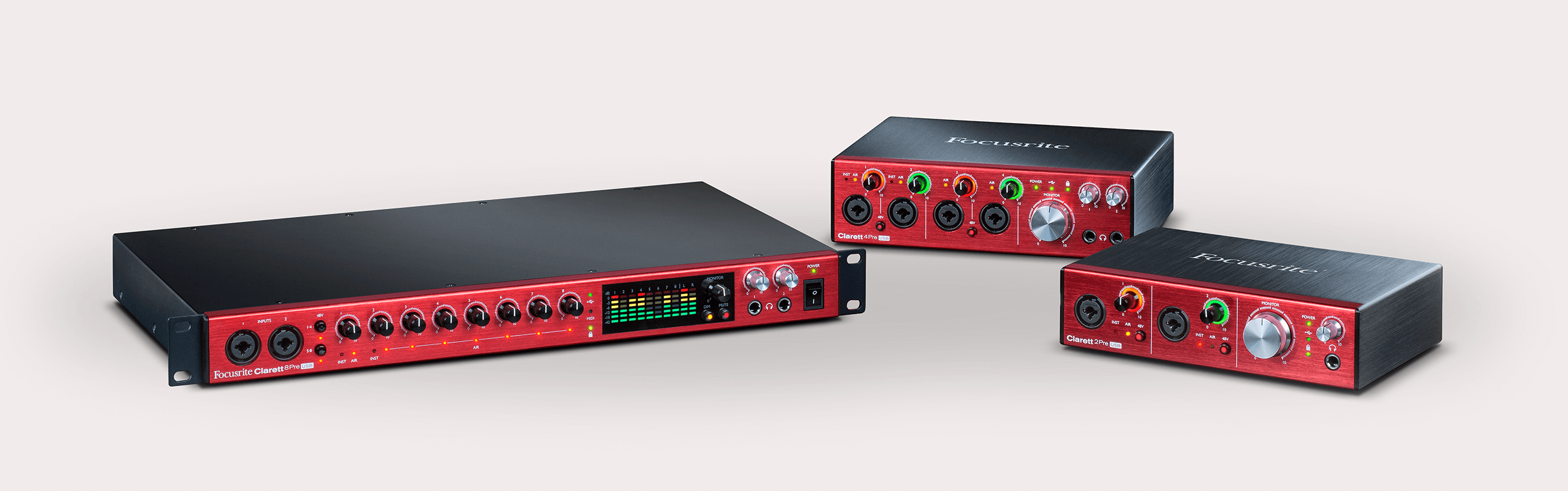 Clarett Sound Now On Usb Focusrite Microphone Preamplifier Based Tlc251 The Line Features Specially Designed High Performance Low Noise 128db Ein Mic Pres With