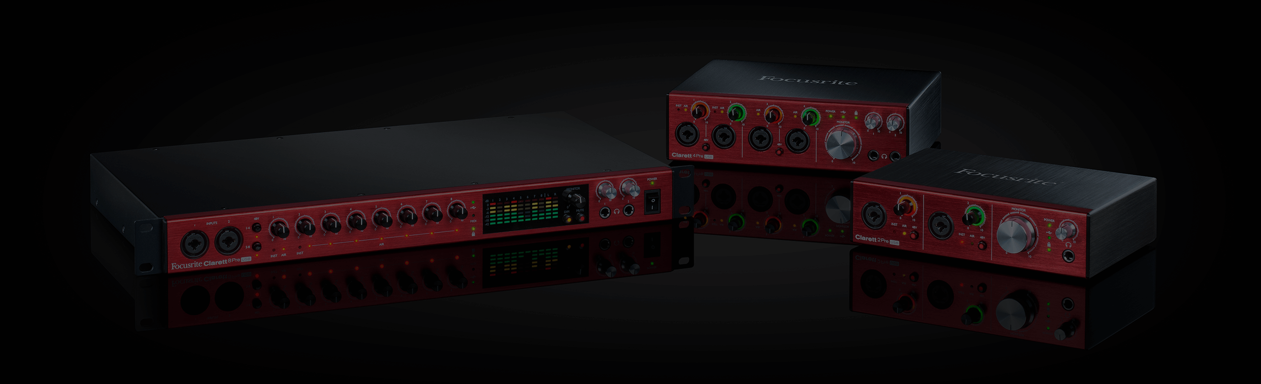 Photo of the Clarett USB range