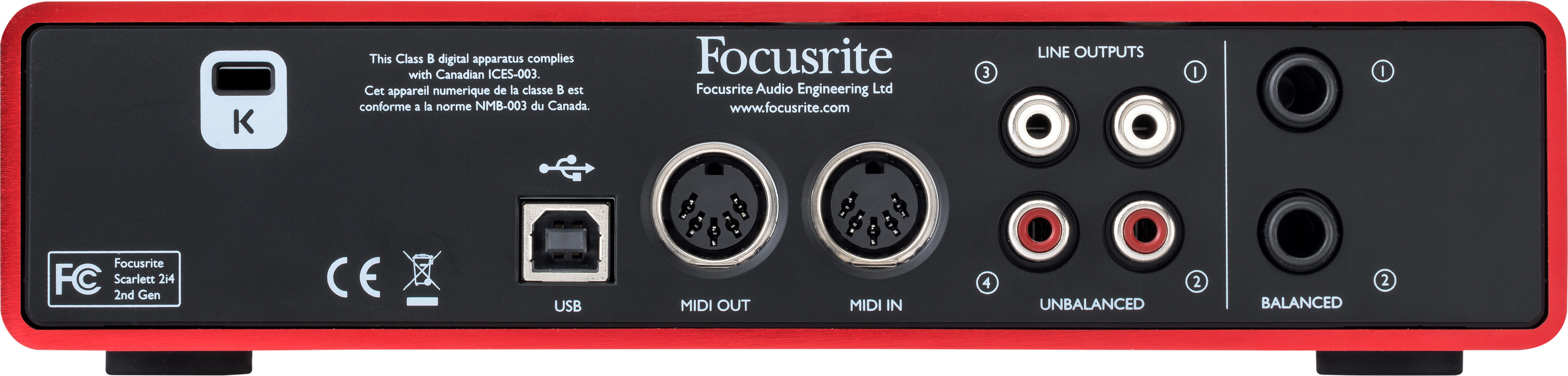 Scarlett 2i4 Focusrite Usb Powered Audio Power Amplifier Rear
