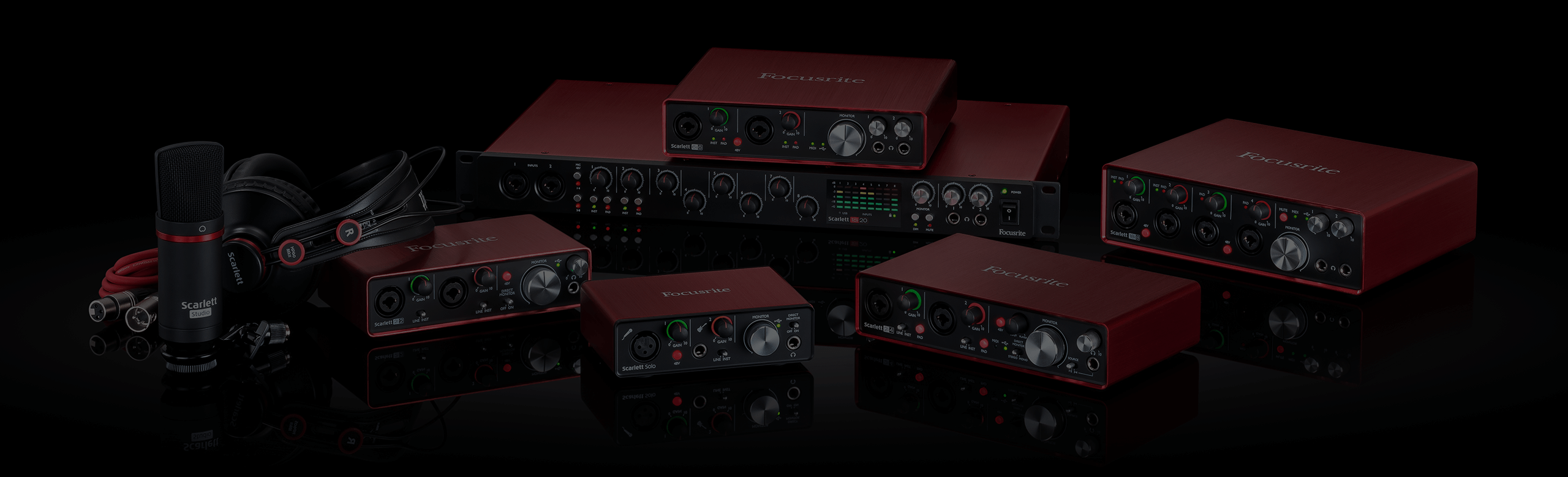 Shot of the Scarlett USB interfaces range