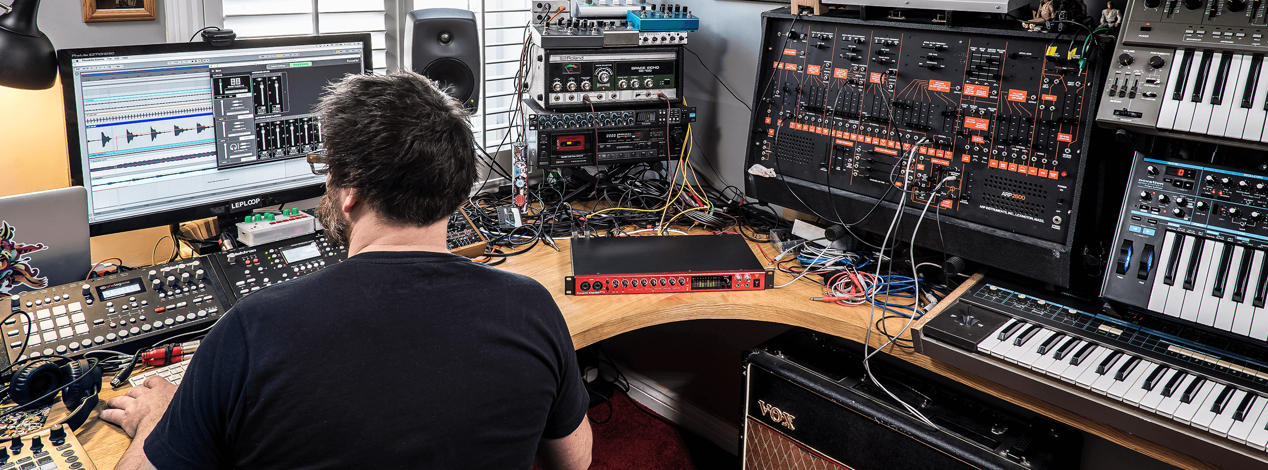 Project studio with Clarett 8Pre and synths