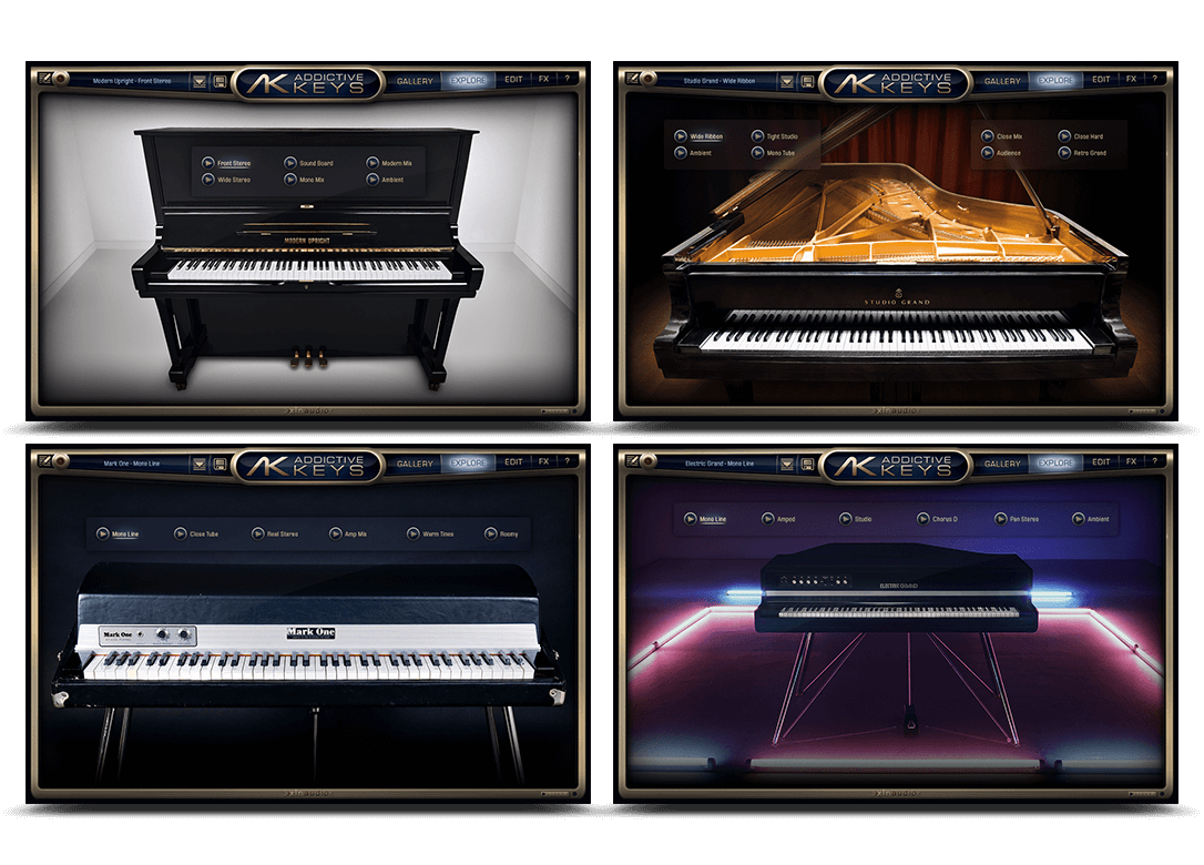 Screenshots of available XLN Addictive Keys virtual instruments